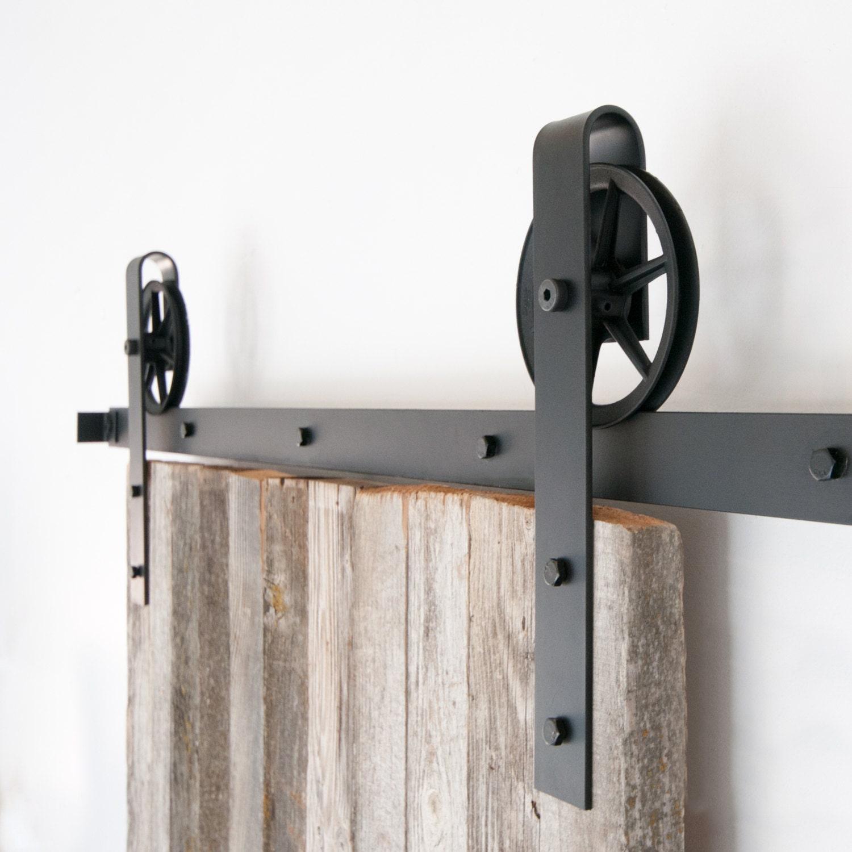 Vintage Industrial Spoked Sliding Barn Door Hardware from