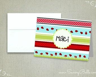 10 Personalized ladybug notecards, lady bug, thank you notes, folded, blank, stationery, letterhead