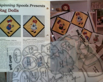 Spinning Spools 'Rag Dolls' Quilt Pattern With Uncut Plastic Templates.