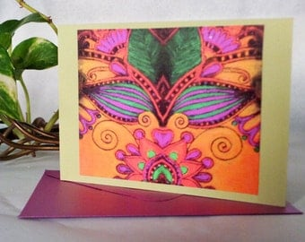 Paisley Abstract designed - Box of Note Cards in 2 colors w/envelopes  (P#072815)