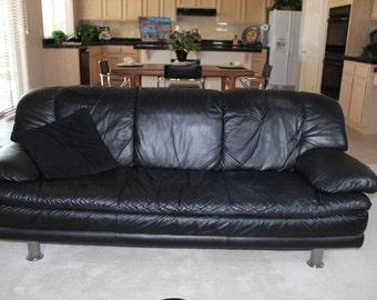 Vintage Black Leather Sofa, Chair, and Ottoman