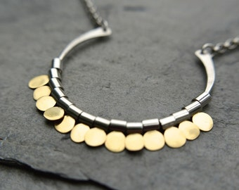 Enchanting Necklace / Hand Forged / Solid 18k Gold / Sterling Silver / Adjustable Length / Delicate / Modern