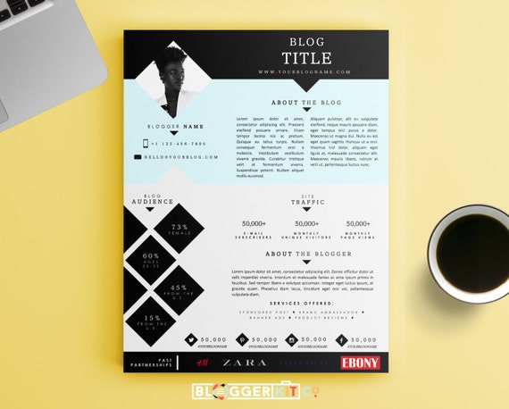 One page media kit template press kit template by bloggerkitco for Band epk template