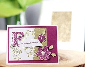 Friends Greeting Card , Handmade, Blank inside, Black or white envelope,