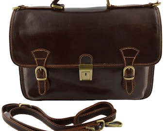 Leather Business Bag - Selvans - Tuscan Leather, Genuine Leather Business Bag 100% Made in Italy