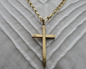 1800's Victorian Gold Plated Crucifix Pendant Necklace - NET091