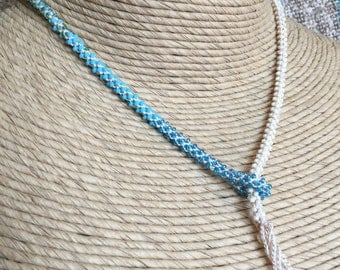 Blue Green White Cream Glass Beaded Crocheted Lariat Necklace