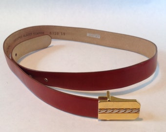 Vintage PRINCESS GARDNER Women's Red Leather Skinny Belt
