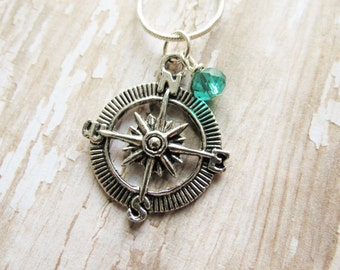 Compass Necklace, Compass Pendant, Compass Charm, Silver Compass, Inspirational Gift, Graduation Gift, Friend Gift, Daughter, Birthday