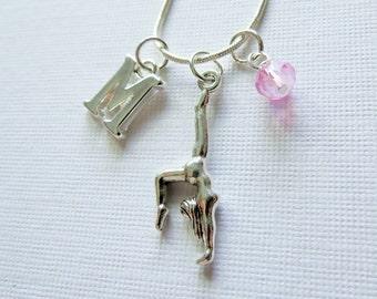 Gymnast Necklace, Gymnastics Charm Necklace, Silver Gymnast, Gymnast Pendant, Birthstone, Initial Charm, Personalized, Team Gift, Birthday
