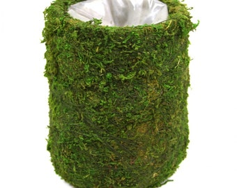 "5"" Round Moss Pots, Moss Vase, Woodland vase, Moss Centerpiece, Garden Quinceanera, Tea party, Set of 6"