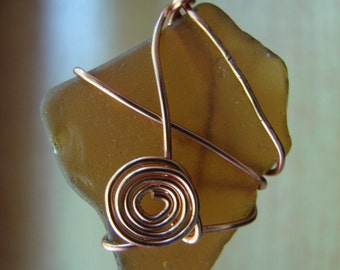 Copper Twirl and Brown Popham Beach Glass Pendant