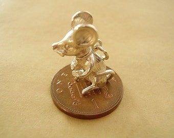 Sterling Silver 3D Mouse That Moves.Charm Charms