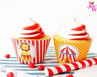 Fun Time Circus Printable Cupcake Wrappers, Cupake Wraps, Circus Party Printables, Circus Cupcake Wrappers, Circus Party, Instant Download
