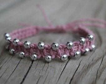 Beaded Macrame Bracelet - Friendship Bracelet - Pink - Beaded