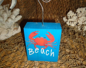 Beach picture frame, crab picture frame, Beach themed wedding favor, Beach themed wedding table number holder, beach decor, wedding gift