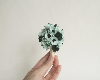 Mint Green Boutonniere and Corsage / paper flower / larger number available
