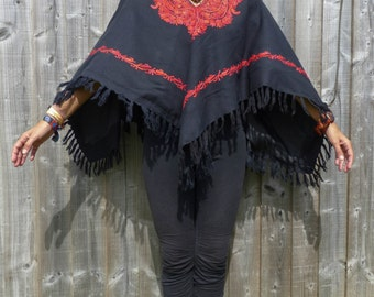 Nepali wool mix embroided shawl