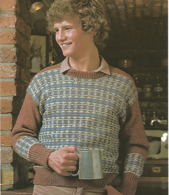 knit mens fair isle sweater patterned front and sleeves