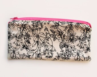 Floral Zipper Pencil Pouch