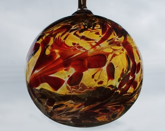 Hand blown Glass Friendship /Kugel / Witches Ball 10cm -Red and Amber