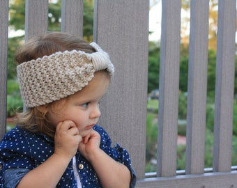Handmade Knit Toddler Bow Headwrap