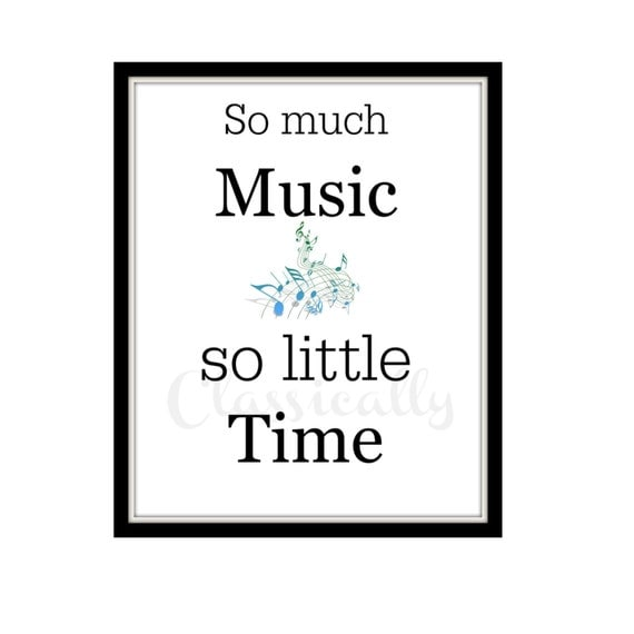 8x10 Music Print So Much Music So Little Time Word Art