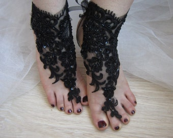 Black French Lace Brefoot Sandals / Bridal Anklet, Gothic sandals