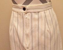Vintage Ladies Skirt High waisted Pinstripe A-line Button Zipper Office 1960s