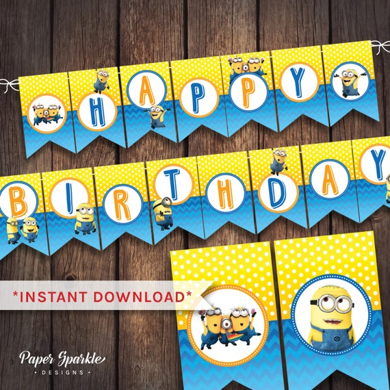 Minions Party Minions Bunting Minions By PaperSparkleDesigns