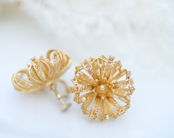Vintage Portuguese Silver Filigree Flower Earrings