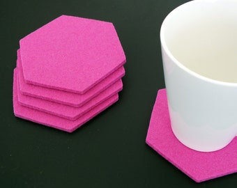 Set of 4 Pink Hexagon Coasters, Drink coasters Merino Wool Felt, Home Decoration Tableware, Party Decoration. Mothers Day Gift. Gift For Mom
