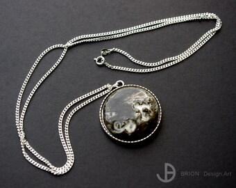 Porcelain charm coloured with chain Silver 925 (unique)