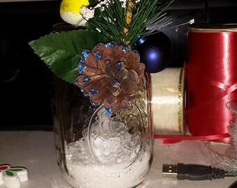 Christmas Mason Jar Candle Holders,Winter mason jars,mason jar candle holder,Candle holders,Christmas gift,Office decor,