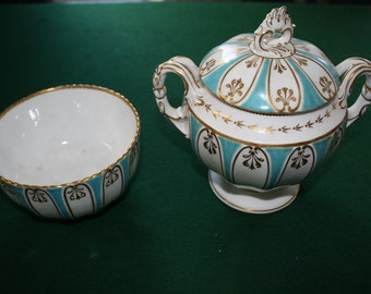 Davenport China Blue and Gold Bowl and Lidded Pot 1850's-1870.