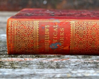 Vintage book Poems by Henry Wadsworth Longfellow with dedication from  1904s