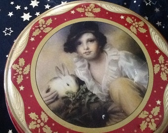 Rare peak frean vintage tin, boy and rabbit at Christmas