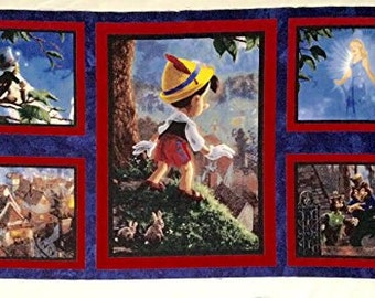 "Official Disney Dream Collection by Thomas Kinkade ""Pinocchio Wish Upon A Star Panel"""