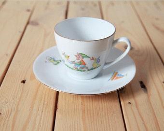 Bavaria Ceramic Coffee Cup and Saucer   Garden Gnome