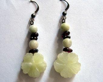 Handcrafted Floral Jade Dangle Earrings
