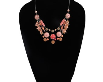 Vintage Parisian Coral Necklace with Beading