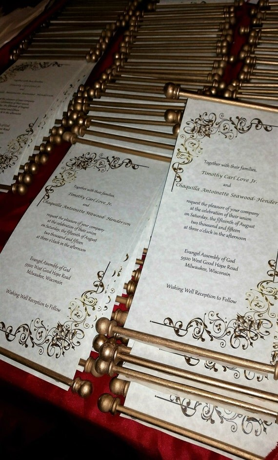 scroll wedding invitations scroll by twooccasionsdesigns With scroll wedding invitations etsy