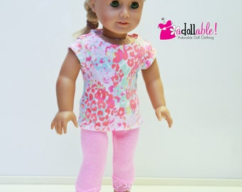 American made Girl Doll Clothes, 18 inch Girl Doll Clothing, Pink Top and Pink Lace Capris made to fit like American girl doll clothes