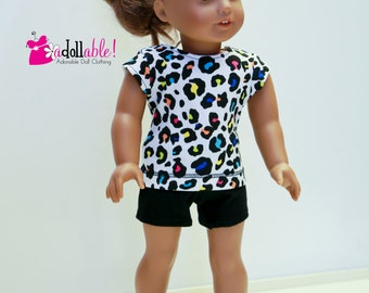 Special Sale 18 inch Doll Clothes, handmade to fit like American Girl ® doll clothes, Leopard Top, Black shorts/Leggings
