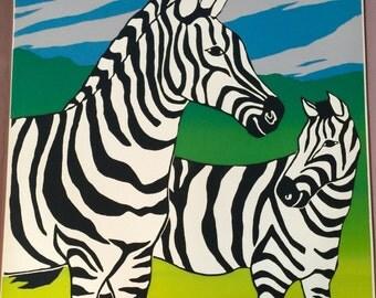 Painted Ponies original, vintage screenprint of zebras by Gail Holliday, 1972