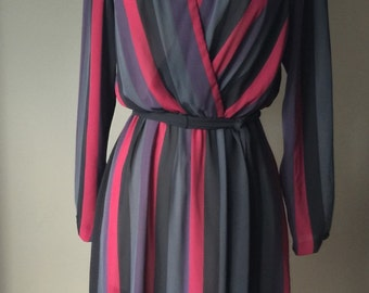 1980's Saucy Striped Dress