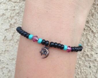 blue/black/white/purple moon bracelet