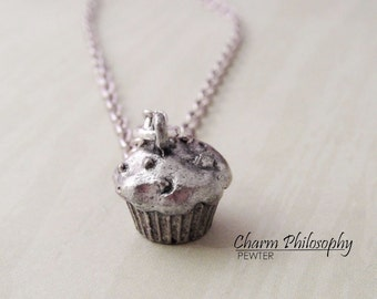 Muffin Necklace - Cupcake Necklace - Silver Pewter Jewelry