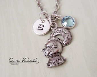 Knight's Helmet Necklace - Suit of Armor Charm - Personalized Initial and Birthstone - Silver Pewter Jewelry