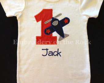 Plane birthday shirt, Personalized birthday shirt, airplane birthday, airplane birthday shirt, 1st birthday, Embroidered birthday shirt.